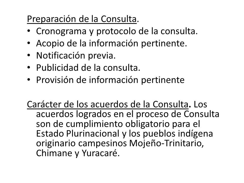 Preparación de la Consulta. Cronograma y protocolo de la consulta. Acopio de la información pertinente. Notificación previa. Publicidad de la consulta