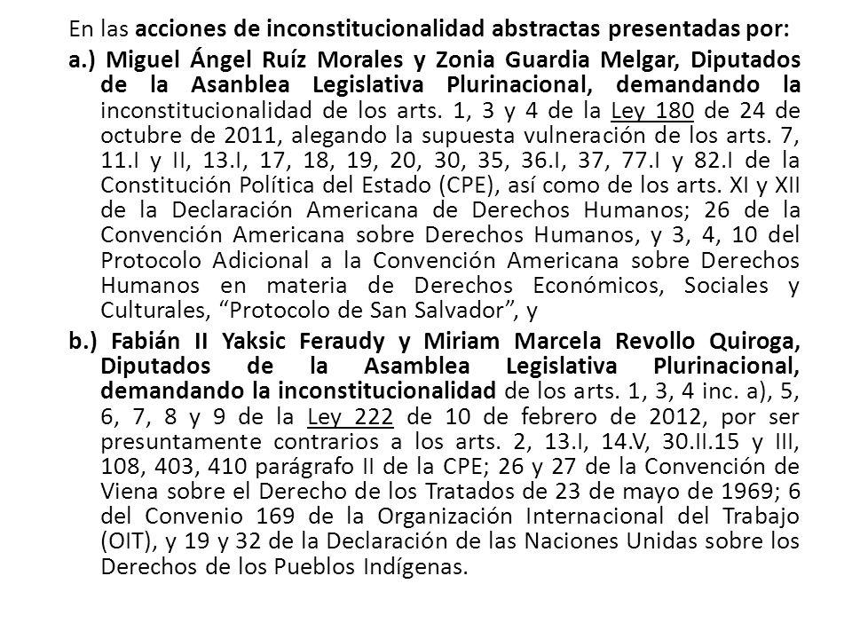En las acciones de inconstitucionalidad abstractas presentadas por: a.) Miguel Ángel Ruíz Morales y Zonia Guardia Melgar, Diputados de la Asanblea Leg