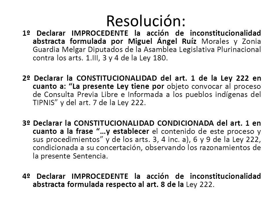 Resolución: 1º Declarar IMPROCEDENTE la acción de inconstitucionalidad abstracta formulada por Miguel Ángel Ruíz Morales y Zonia Guardia Melgar Diputa