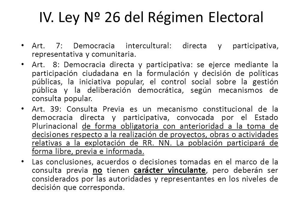 IV. Ley Nº 26 del Régimen Electoral Art. 7: Democracia intercultural: directa y participativa, representativa y comunitaria. Art. 8: Democracia direct