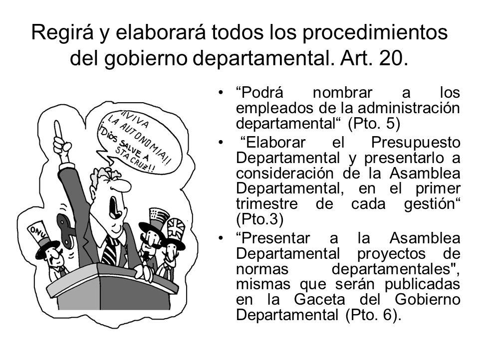 Regirá y elaborará todos los procedimientos del gobierno departamental. Art. 20. Podrá nombrar a los empleados de la administración departamental (Pto