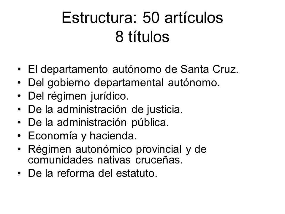 Estructura: 50 artículos 8 títulos El departamento autónomo de Santa Cruz. Del gobierno departamental autónomo. Del régimen jurídico. De la administra