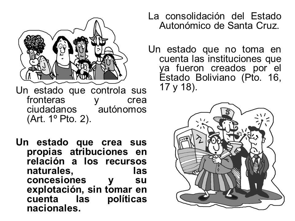 La consolidación del Estado Autonómico de Santa Cruz. Un estado que no toma en cuenta las instituciones que ya fueron creados por el Estado Boliviano