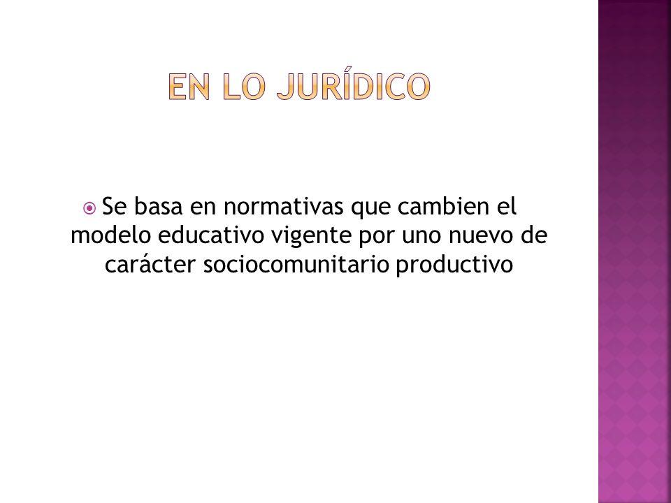 Se basa en normativas que cambien el modelo educativo vigente por uno nuevo de carácter sociocomunitario productivo