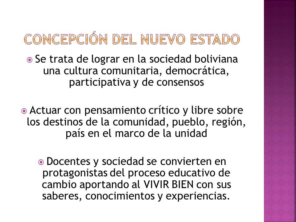 Se trata de lograr en la sociedad boliviana una cultura comunitaria, democrática, participativa y de consensos Actuar con pensamiento crítico y libre sobre los destinos de la comunidad, pueblo, región, país en el marco de la unidad Docentes y sociedad se convierten en protagonistas del proceso educativo de cambio aportando al VIVIR BIEN con sus saberes, conocimientos y experiencias.