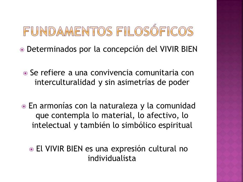 Determinados por la concepción del VIVIR BIEN Se refiere a una convivencia comunitaria con interculturalidad y sin asimetrías de poder En armonías con la naturaleza y la comunidad que contempla lo material, lo afectivo, lo intelectual y también lo simbólico espiritual El VIVIR BIEN es una expresión cultural no individualista