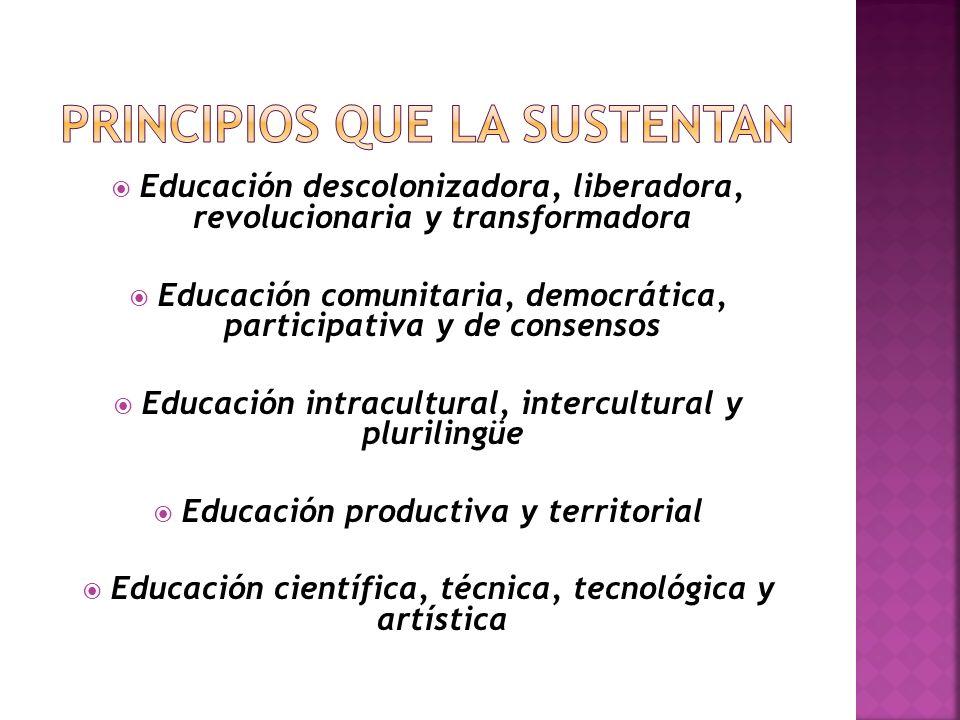 Educación descolonizadora, liberadora, revolucionaria y transformadora Educación comunitaria, democrática, participativa y de consensos Educación intracultural, intercultural y plurilingüe Educación productiva y territorial Educación científica, técnica, tecnológica y artística