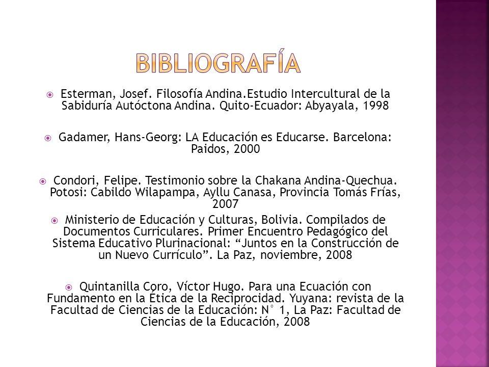 Esterman, Josef.Filosofía Andina.Estudio Intercultural de la Sabiduría Autóctona Andina.