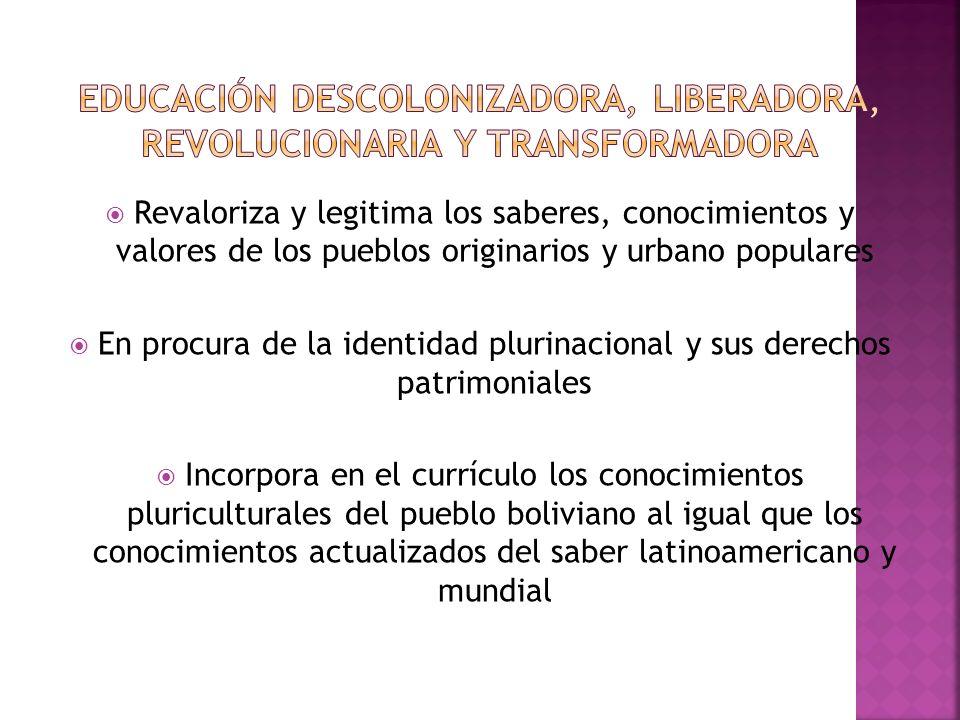 Revaloriza y legitima los saberes, conocimientos y valores de los pueblos originarios y urbano populares En procura de la identidad plurinacional y sus derechos patrimoniales Incorpora en el currículo los conocimientos pluriculturales del pueblo boliviano al igual que los conocimientos actualizados del saber latinoamericano y mundial