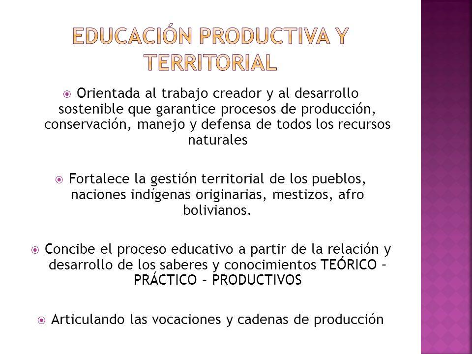 Orientada al trabajo creador y al desarrollo sostenible que garantice procesos de producción, conservación, manejo y defensa de todos los recursos naturales Fortalece la gestión territorial de los pueblos, naciones indígenas originarias, mestizos, afro bolivianos.