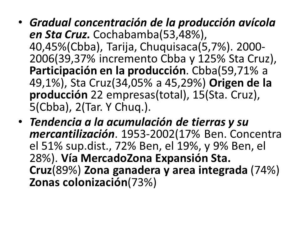 Gradual concentración de la producción avícola en Sta Cruz.