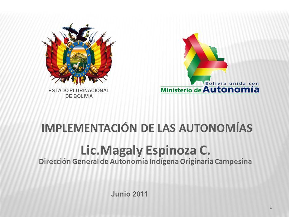 IMPLEMENTACIÓN DE LAS AUTONOMÍAS Lic.Magaly Espinoza C. Dirección General de Autonomía Indígena Originaria Campesina Junio 2011 ESTADO PLURINACIONAL D