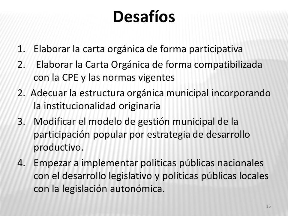 Desafíos 1.Elaborar la carta orgánica de forma participativa 2. Elaborar la Carta Orgánica de forma compatibilizada con la CPE y las normas vigentes 2
