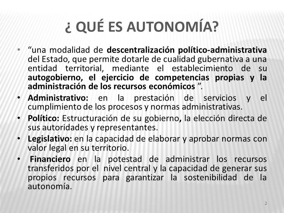 ¿ QUÉ ES AUTONOMÍA? una modalidad de descentralización político-administrativa del Estado, que permite dotarle de cualidad gubernativa a una entidad t