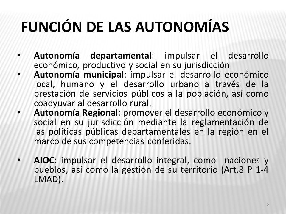 FUNCIÓN DE LAS AUTONOMÍAS Autonomía departamental: impulsar el desarrollo económico, productivo y social en su jurisdicción Autonomía municipal: impul
