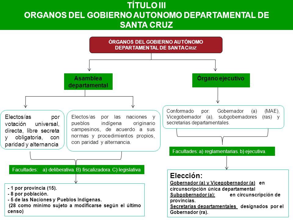 TÍTULO III ORGANOS DEL GOBIERNO AUTONOMO DEPARTAMENTAL DE SANTA CRUZ ÓRGANOS DEL GOBIERNO AUTÓNOMO DEPARTAMENTAL DE SANTA C RUZ Órgano ejecutivoAsambl