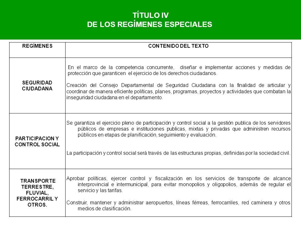 TÍTULO IV DE LOS REGÍMENES ESPECIALES REGÍMENESCONTENIDO DEL TEXTO SEGURIDAD CIUDADANA En el marco de la competencia concurrente, diseñar e implementa