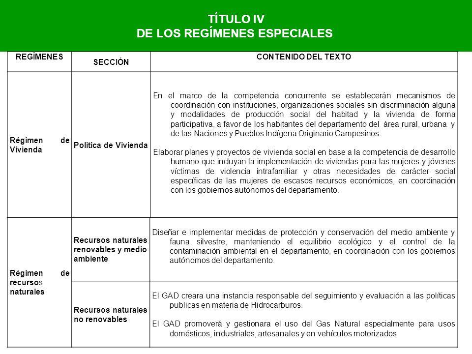 TÍTULO IV DE LOS REGÍMENES ESPECIALES REGÍMENES SECCIÓN CONTENIDO DEL TEXTO Régimen de Vivienda Política de Vivienda En el marco de la competencia con