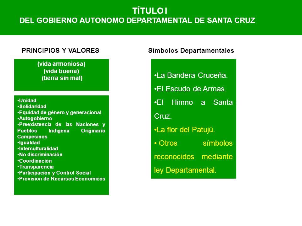 TÍTULO I DEL GOBIERNO AUTONOMO DEPARTAMENTAL DE SANTA CRUZ (vida armoniosa) (vida buena) (tierra sin mal) PRINCIPIOS Y VALORES Unidad. Solidaridad Equ