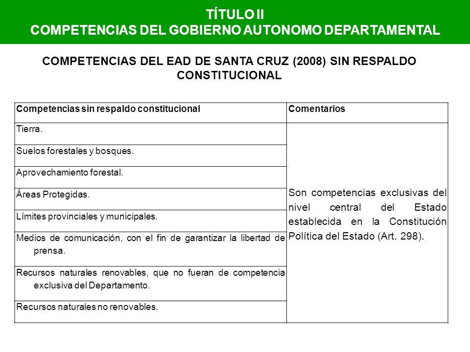 TÍTULO II COMPETENCIAS DEL GOBIERNO AUTONOMO DEPARTAMENTAL COMPETENCIAS DEL EAD DE SANTA CRUZ (2008) SIN RESPALDO CONSTITUCIONAL Competencias sin resp