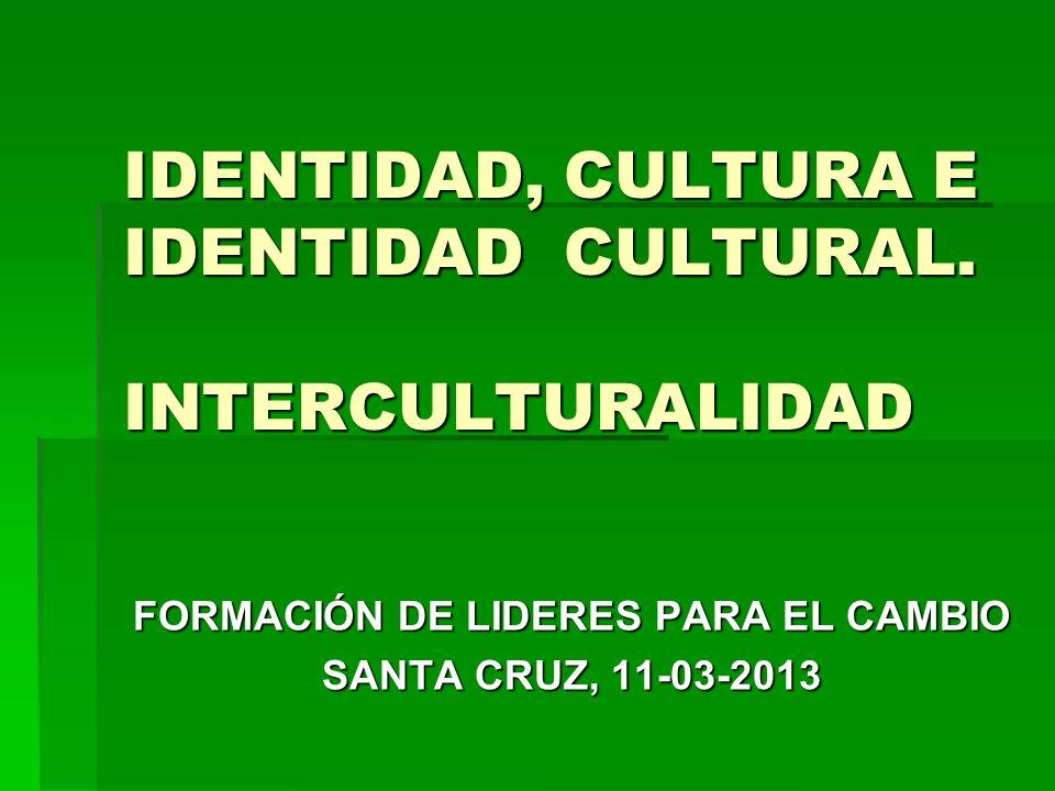 IDENTIDAD, CULTURA E IDENTIDAD CULTURAL. INTERCULTURALIDAD FORMACIÓN DE LIDERES PARA EL CAMBIO SANTA CRUZ, 11-03-2013