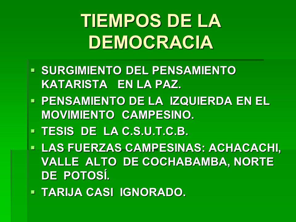 TIEMPOS DE LA DEMOCRACIA SURGIMIENTO DEL PENSAMIENTO KATARISTA EN LA PAZ. SURGIMIENTO DEL PENSAMIENTO KATARISTA EN LA PAZ. PENSAMIENTO DE LA IZQUIERDA