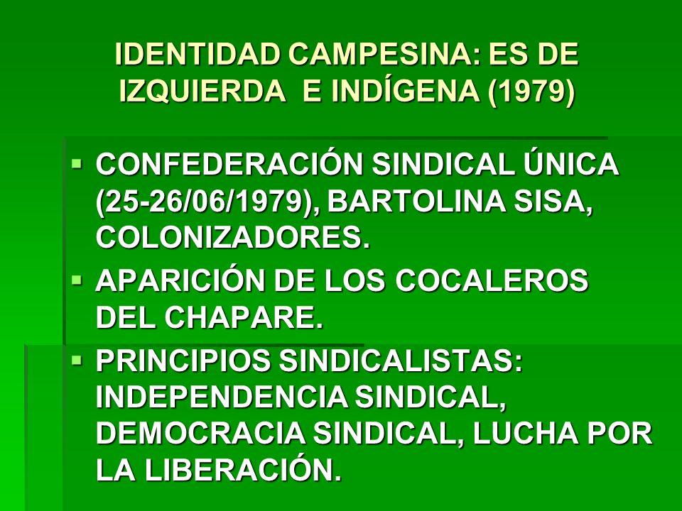 IDENTIDAD CAMPESINA: ES DE IZQUIERDA E INDÍGENA (1979) CONFEDERACIÓN SINDICAL ÚNICA (25-26/06/1979), BARTOLINA SISA, COLONIZADORES. CONFEDERACIÓN SIND