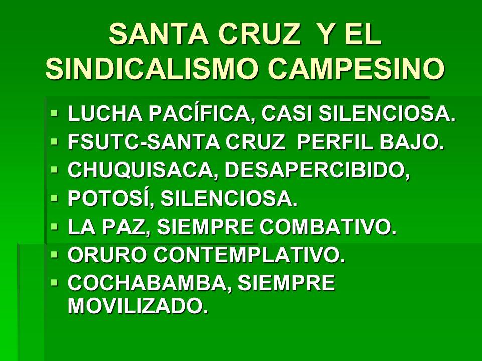 SANTA CRUZ Y EL SINDICALISMO CAMPESINO LUCHA PACÍFICA, CASI SILENCIOSA. LUCHA PACÍFICA, CASI SILENCIOSA. FSUTC-SANTA CRUZ PERFIL BAJO. FSUTC-SANTA CRU