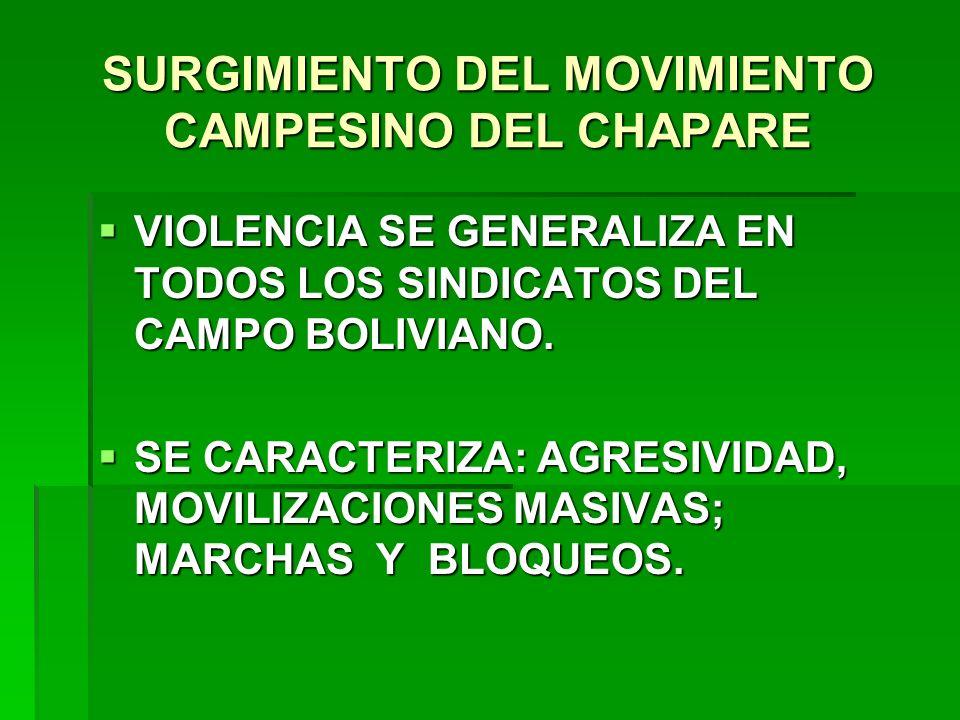 SURGIMIENTO DEL MOVIMIENTO CAMPESINO DEL CHAPARE VIOLENCIA SE GENERALIZA EN TODOS LOS SINDICATOS DEL CAMPO BOLIVIANO. VIOLENCIA SE GENERALIZA EN TODOS