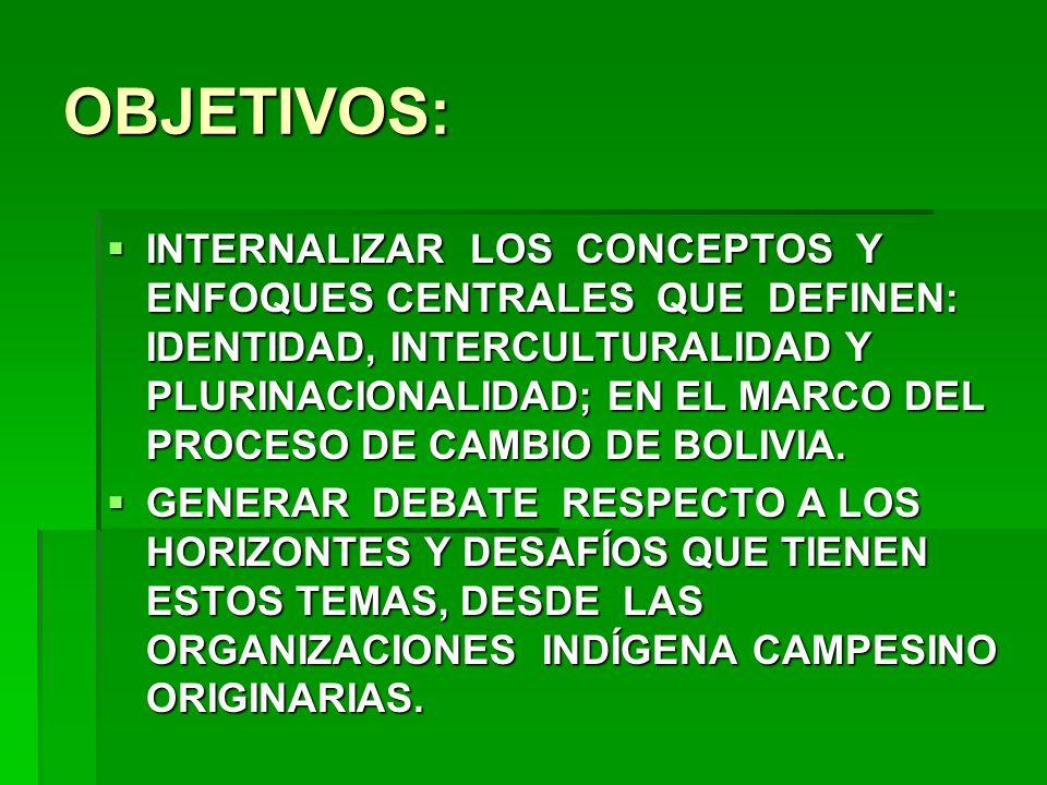 OBJETIVOS: INTERNALIZAR LOS CONCEPTOS Y ENFOQUES CENTRALES QUE DEFINEN: IDENTIDAD, INTERCULTURALIDAD Y PLURINACIONALIDAD; EN EL MARCO DEL PROCESO DE C