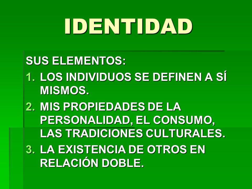 IDENTIDAD SUS ELEMENTOS: 1.LOS INDIVIDUOS SE DEFINEN A SÍ MISMOS. 2.MIS PROPIEDADES DE LA PERSONALIDAD, EL CONSUMO, LAS TRADICIONES CULTURALES. 3.LA E