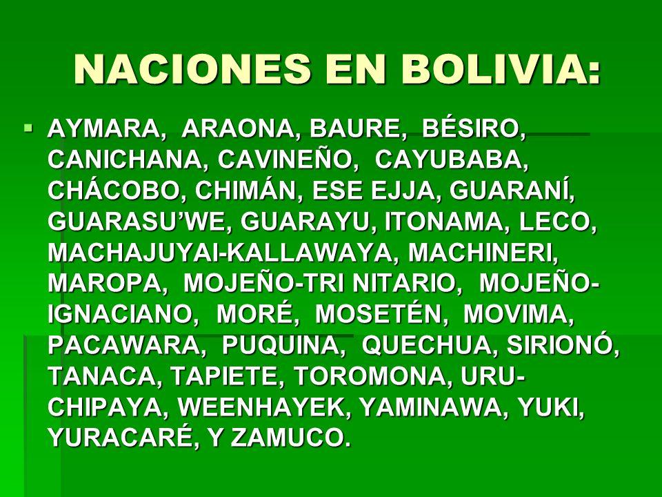 NACIONES EN BOLIVIA: AYMARA, ARAONA, BAURE, BÉSIRO, CANICHANA, CAVINEÑO, CAYUBABA, CHÁCOBO, CHIMÁN, ESE EJJA, GUARANÍ, GUARASUWE, GUARAYU, ITONAMA, LE