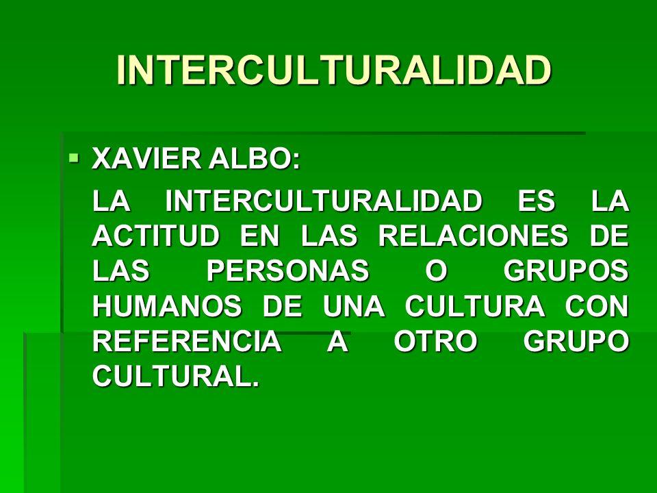 INTERCULTURALIDAD XAVIER ALBO: XAVIER ALBO: LA INTERCULTURALIDAD ES LA ACTITUD EN LAS RELACIONES DE LAS PERSONAS O GRUPOS HUMANOS DE UNA CULTURA CON R