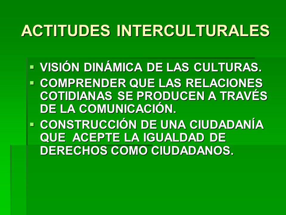 ACTITUDES INTERCULTURALES VISIÓN DINÁMICA DE LAS CULTURAS. VISIÓN DINÁMICA DE LAS CULTURAS. COMPRENDER QUE LAS RELACIONES COTIDIANAS SE PRODUCEN A TRA