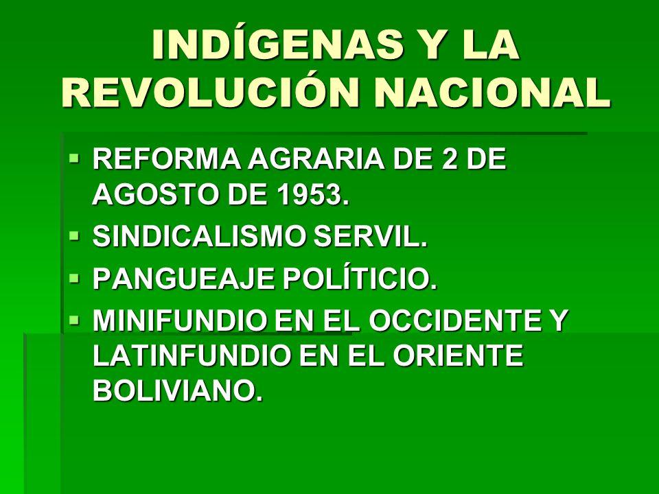 INDÍGENAS Y LA REVOLUCIÓN NACIONAL REFORMA AGRARIA DE 2 DE AGOSTO DE 1953. REFORMA AGRARIA DE 2 DE AGOSTO DE 1953. SINDICALISMO SERVIL. SINDICALISMO S