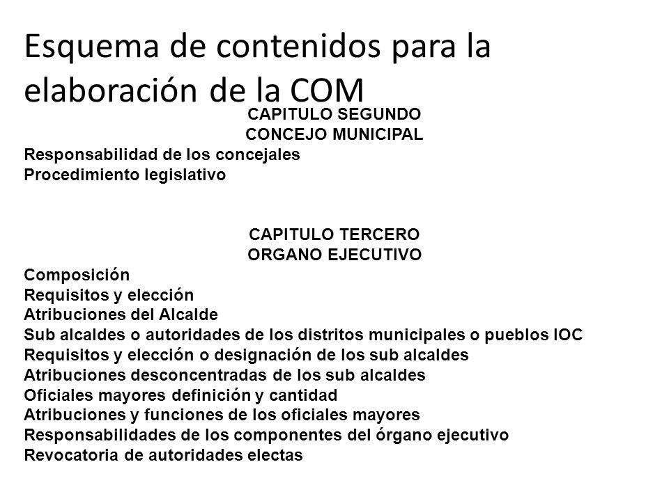 Esquema de contenidos para la elaboración de la COM CAPITULO SEGUNDO CONCEJO MUNICIPAL Responsabilidad de los concejales Procedimiento legislativo CAP