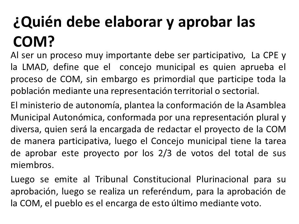¿Quién debe elaborar y aprobar las COM? Al ser un proceso muy importante debe ser participativo, La CPE y la LMAD, define que el concejo municipal es