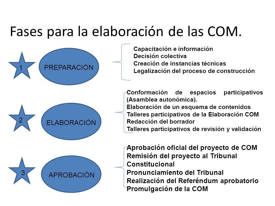 Fases para la elaboración de las COM. PREPARACIÓN ELABORACIÓN APROBACIÓN 1 2 3 Capacitación e información Decisión colectiva Creación de instancias té