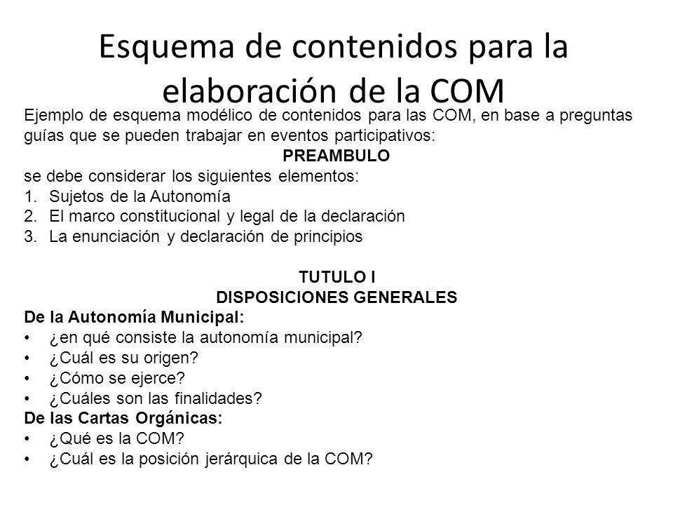 Esquema de contenidos para la elaboración de la COM Ejemplo de esquema modélico de contenidos para las COM, en base a preguntas guías que se pueden tr