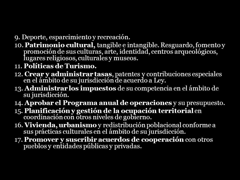 9. Deporte, esparcimiento y recreación. 10. Patrimonio cultural, tangible e intangible. Resguardo, fomento y promoción de sus culturas, arte, identida