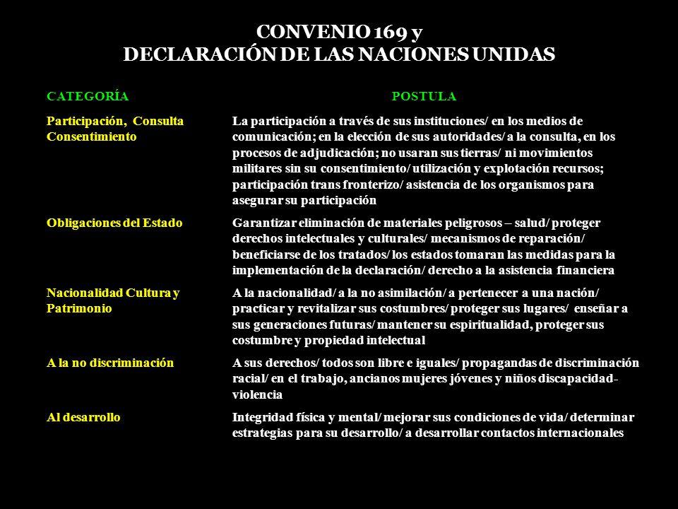 CONVENIO 169 y DECLARACIÓN DE LAS NACIONES UNIDAS N CATEGORÍAPOSTULA 1 Participación, Consulta Consentimiento La participación a través de sus institu
