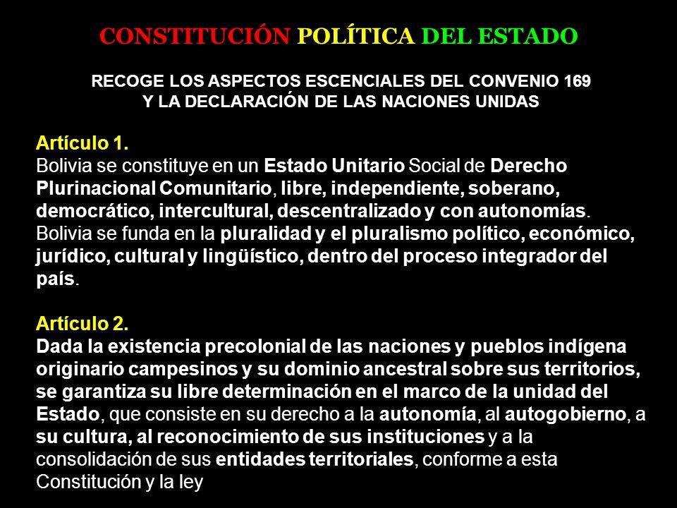 CONSTITUCIÓN POLÍTICA DEL ESTADO RECOGE LOS ASPECTOS ESCENCIALES DEL CONVENIO 169 Y LA DECLARACIÓN DE LAS NACIONES UNIDAS Artículo 1. Bolivia se const