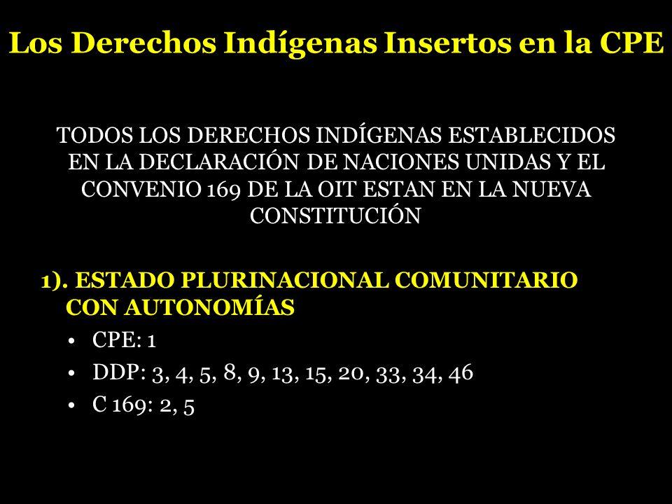 Los Derechos Indígenas Insertos en la CPE TODOS LOS DERECHOS INDÍGENAS ESTABLECIDOS EN LA DECLARACIÓN DE NACIONES UNIDAS Y EL CONVENIO 169 DE LA OIT E