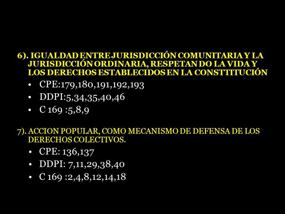 6). IGUALDAD ENTRE JURISDICCIÓN COMUNITARIA Y LA JURISDICCIÓN ORDINARIA, RESPETAN DO LA VIDA Y LOS DERECHOS ESTABLECIDOS EN LA CONSTTITUCIÓN CPE:179,1