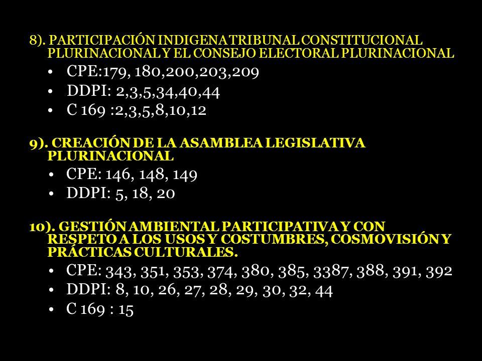 8). PARTICIPACIÓN INDIGENA TRIBUNAL CONSTITUCIONAL PLURINACIONAL Y EL CONSEJO ELECTORAL PLURINACIONAL CPE:179, 180,200,203,209 DDPI: 2,3,5,34,40,44 C