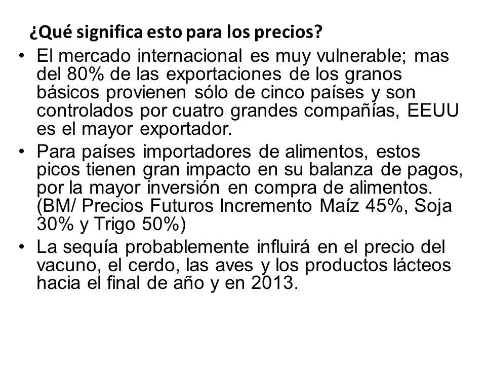 ¿Qué significa esto para los precios? El mercado internacional es muy vulnerable; mas del 80% de las exportaciones de los granos básicos provienen sól