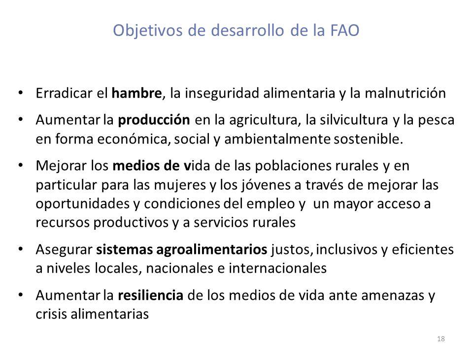 Objetivos de desarrollo de la FAO Erradicar el hambre, la inseguridad alimentaria y la malnutrición Aumentar la producción en la agricultura, la silvi