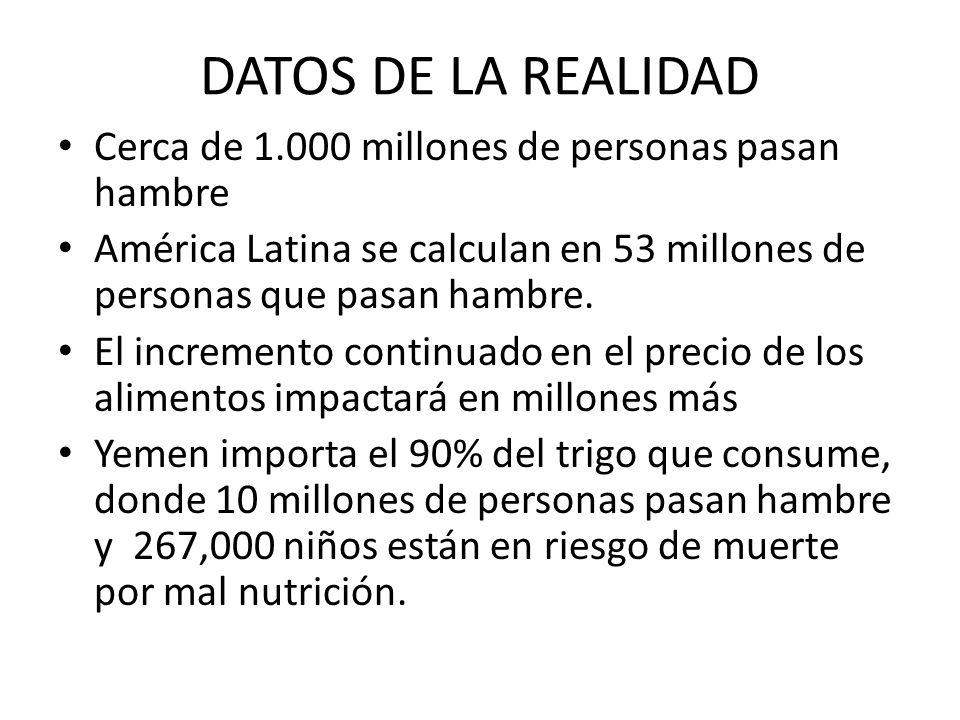 DATOS DE LA REALIDAD Cerca de 1.000 millones de personas pasan hambre América Latina se calculan en 53 millones de personas que pasan hambre. El incre