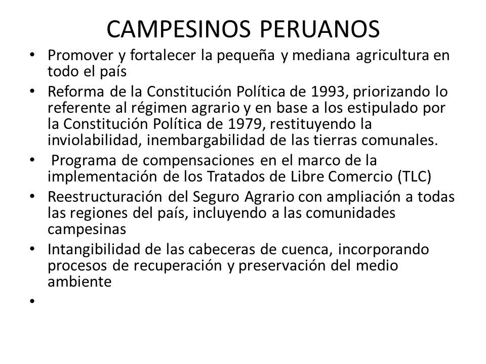 CAMPESINOS PERUANOS Promover y fortalecer la pequeña y mediana agricultura en todo el país Reforma de la Constitución Política de 1993, priorizando lo