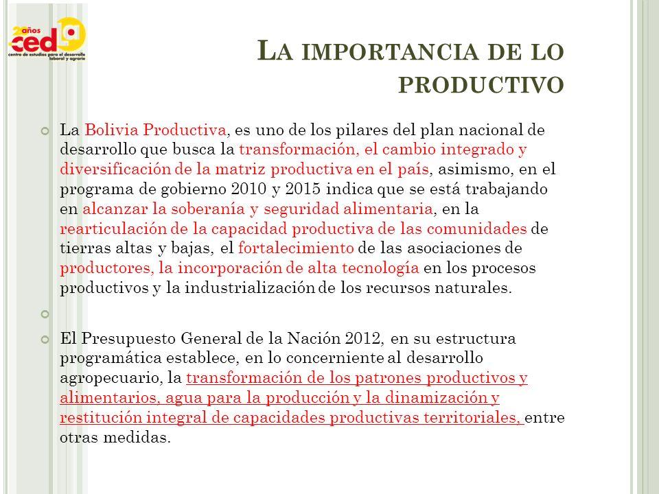 L A IMPORTANCIA DE LO PRODUCTIVO La Bolivia Productiva, es uno de los pilares del plan nacional de desarrollo que busca la transformación, el cambio integrado y diversificación de la matriz productiva en el país, asimismo, en el programa de gobierno 2010 y 2015 indica que se está trabajando en alcanzar la soberanía y seguridad alimentaria, en la rearticulación de la capacidad productiva de las comunidades de tierras altas y bajas, el fortalecimiento de las asociaciones de productores, la incorporación de alta tecnología en los procesos productivos y la industrialización de los recursos naturales.